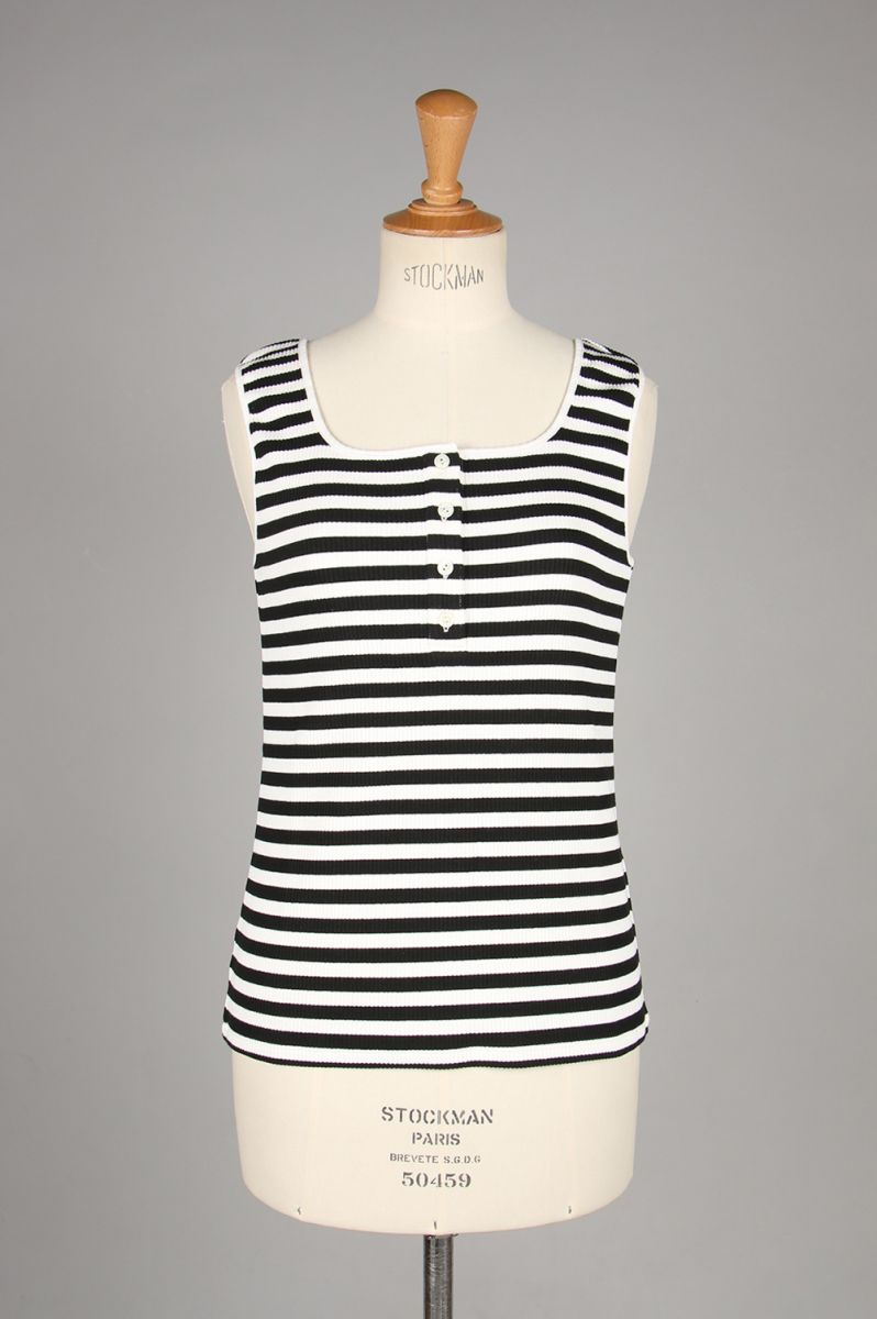SCARLETTE HENRY NECK TANK TOP -Stripe (TNH19100-01) The Newhouse(ザ・ニューハウス)