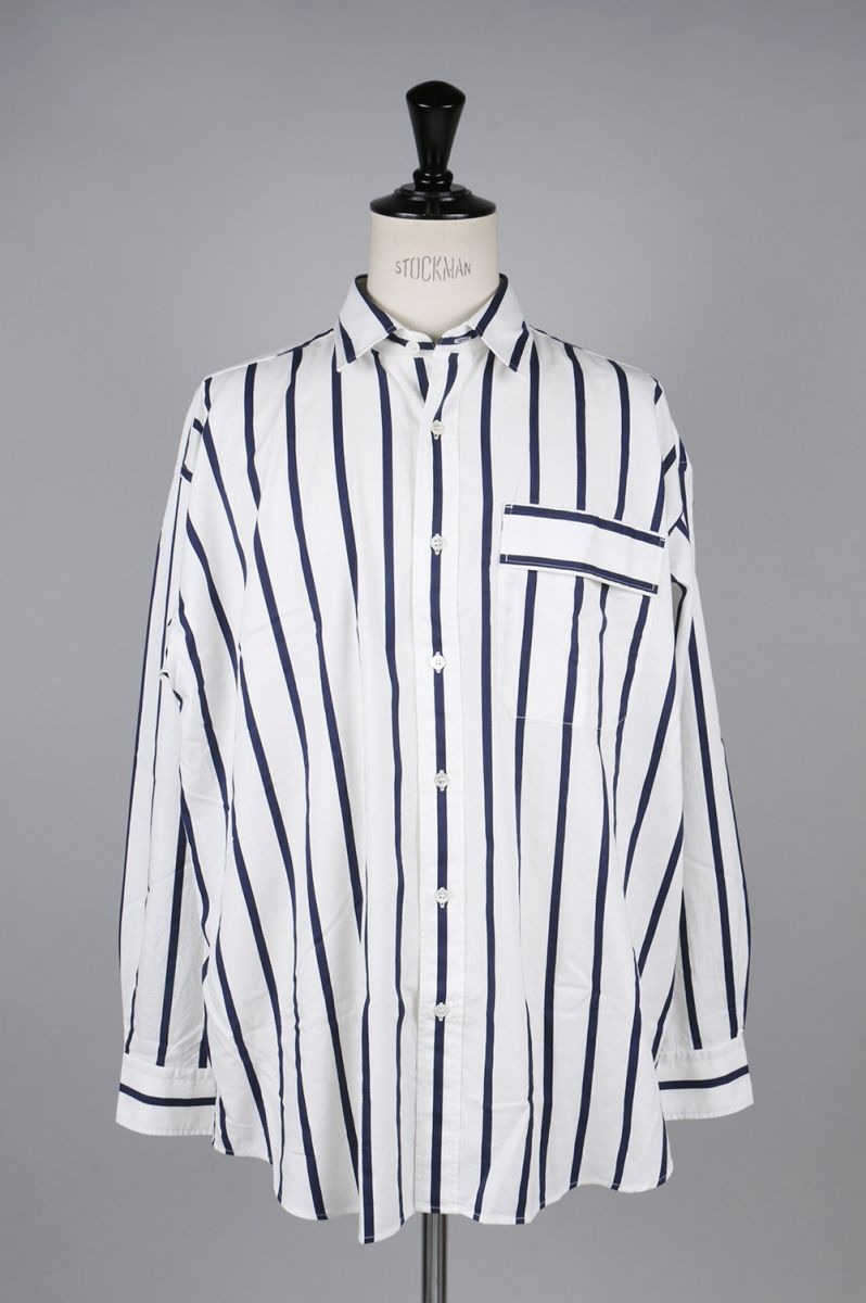 STRIPE SHIRTS -WHITE×NAVY- (US1485) Unused -Men-(アンユーズド)