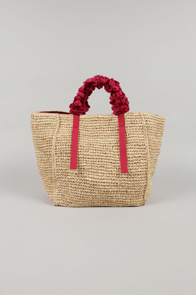 GRAPE HANDLE BAG RAFFIA-RED (LD2000) Ludlow(ラドロー)