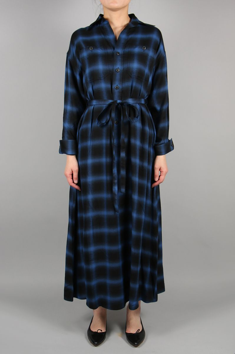 【30%OFF】HOMBRE CHECK SHIRT DRESS-BLUE(11RFADRE-05C) Bluebird Boulevard(ブルーバード・ブルバード)