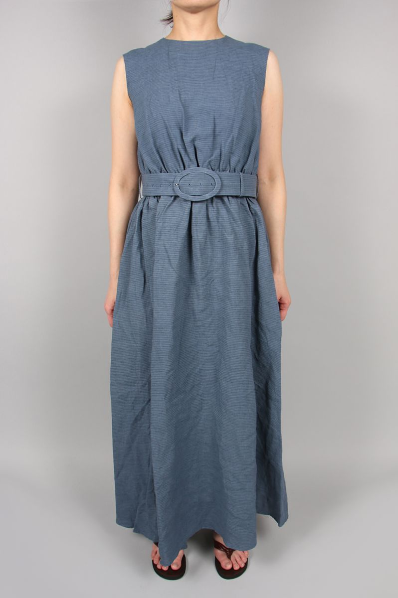 BORDER LINEN DRESS-BLUE(11RFADRE-06C) Bluebird Boulevard(ブルーバード・ブルバード)