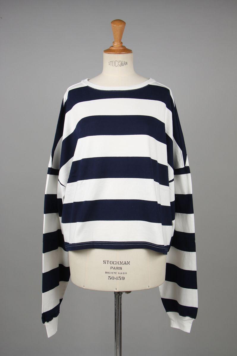 STRIPE TOMBOY SWEAT SHIRT -Navy (TNH19100-31) The Newhouse(ザ・ニューハウス)
