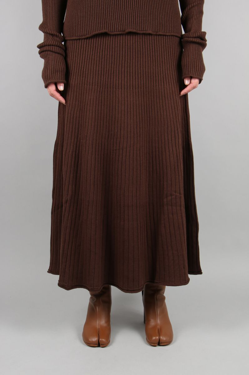 【40%OFF】COTTON CASHMERE FLAIRED SKIRT -Brown (TNH19200-16) The Newhouse(ザ・ニューハウス)