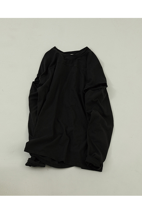 【受注会開催中】Sleeve Slit Long T-Shirts-BLACK(12010614 ) (R) Todayful(トゥデイフル)