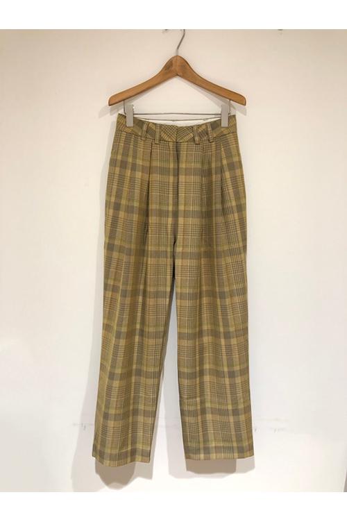 【受注会開催中】Check Tuck Pants-YELLOW(12010714) (R) Todayful(トゥデイフル)
