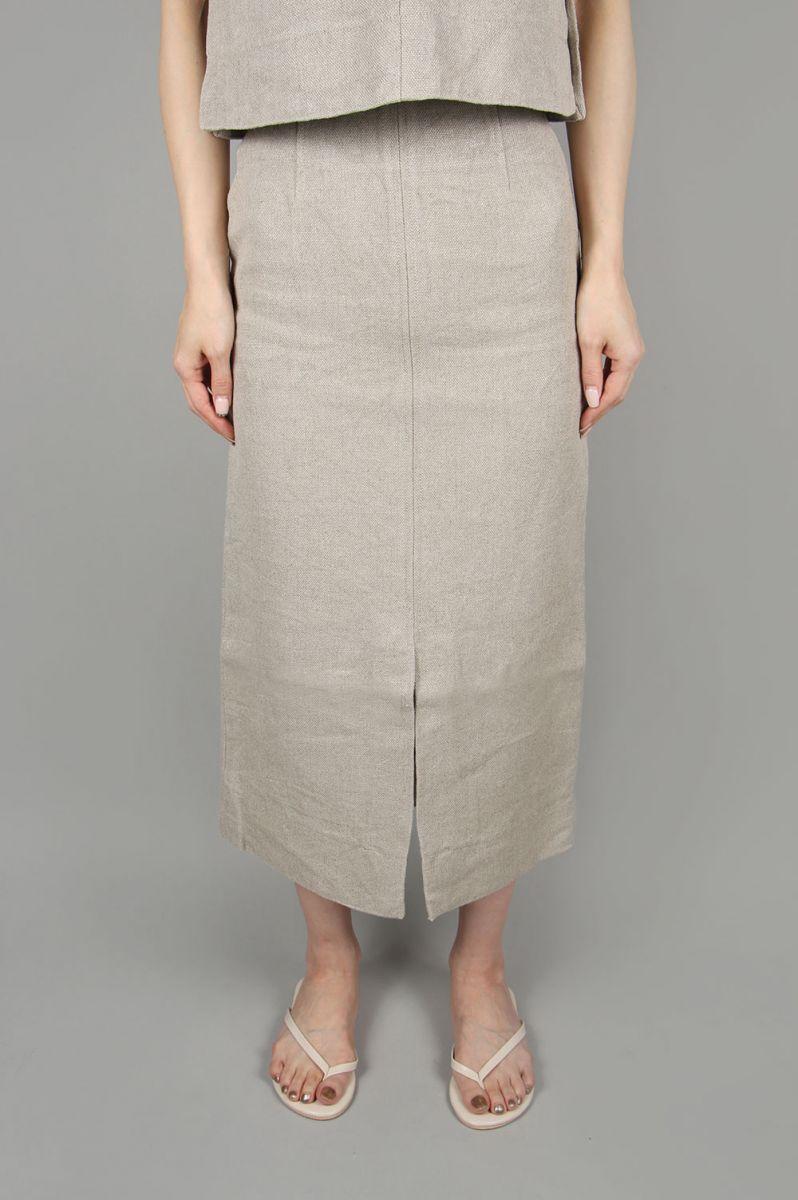 Heavy linen tight skirt-BEIGE-(13RFABOT-01C) Bluebird Boulevard(ブルーバード・ブルバード)