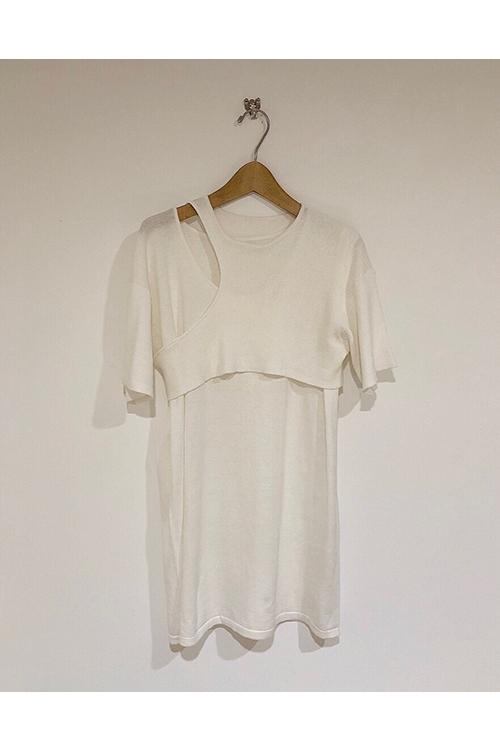 【予約会開催中】Layered Asymmetry Knit-WHITE(12010516) (R) Todayful(トゥデイフル)