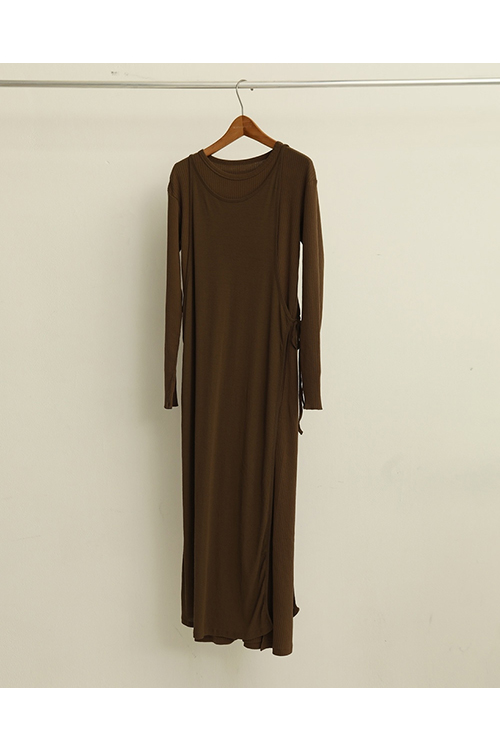 【予約会開催中】Cottonrib Layered Dress-BROWN( 12010317 ) (R) Todayful(トゥデイフル)