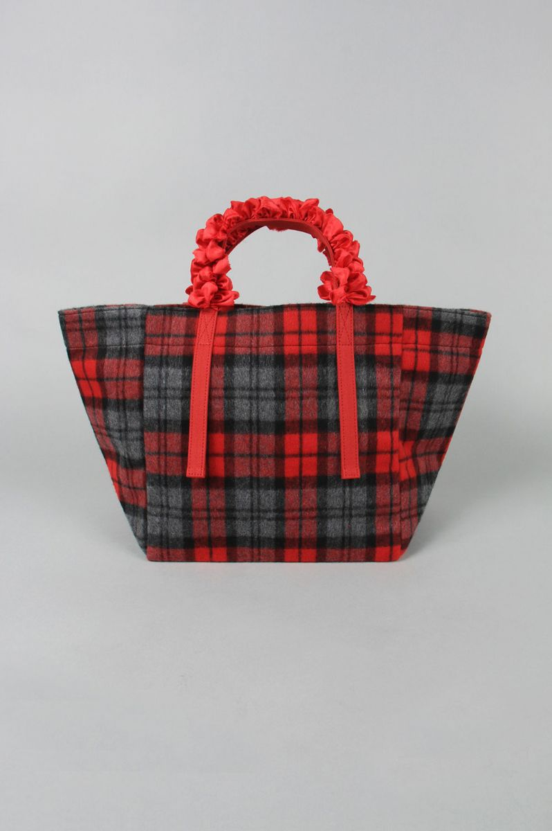 GRAPE HANDLE TOTE -RED CHECK (LD2400) Ludlow(ラドロー)