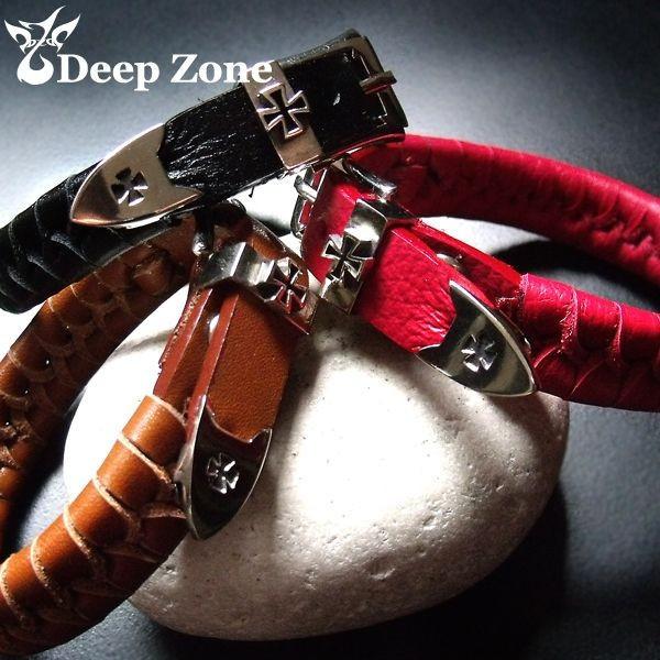 大決算セール Deep Zone 芸術的 象徴的なシンボルデザインブレスレット ブレスレット レザーブレスレット メンズ 賜物 クロスデザインバックル 本革