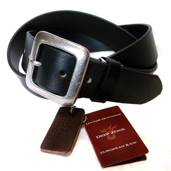 Deep Zone 一枚革で厚みのある欧州産レザー本革を使用 レザーベルト オイルレザースクエアーバックル 上質 メンズ 本革 セットアップ 欧州産