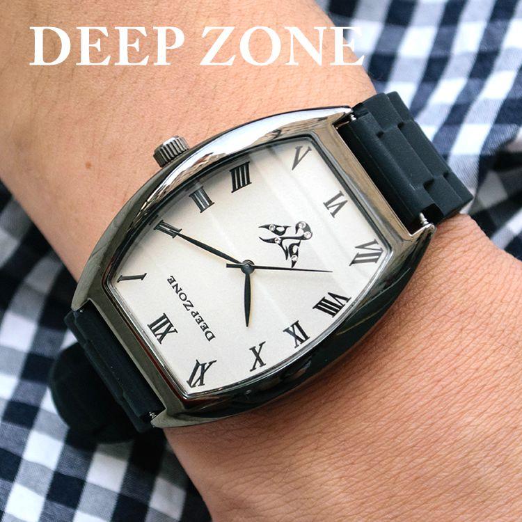 正規激安 送料無料 腕時計 ブレスウォッチ ラバーブレス Deep Zone ラウンドケース ジルコニア シルバーフェイス リリィコンチョ 激安挑戦中 ラバー ゴム 父親 専用ボックスあり メンズバッグ 彼氏 プレゼント #669-13 ギフト