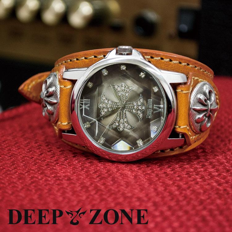ワイルドでセクシーな男のブレスウォッチ Deep zone 腕時計 メンズ ジルコニアクロス 送料0円 レザー 文字盤 イタリアン リリィコンチョ 人気ショップが最安値挑戦 ベルト 国産ムーヴメント