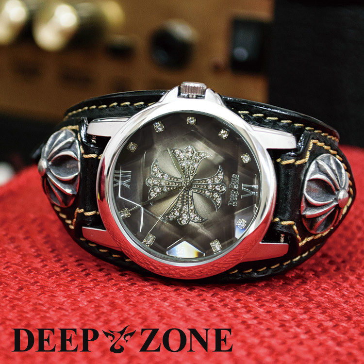 (Deep zone) 腕時計 メンズ ジルコニアクロス 文字盤 イタリアン レザー ベルト リリィコンチョ 国産ムーヴメント