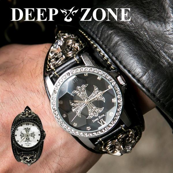数多くのジルコニアが埋め込まれたクロスデザインフェイス 腕時計 ブレスウォッチ メンズ カジュアル ビジネス 日時指定 超激安特価 スネークレザー DEEP ZONE パイソンレザー 蛇 ジルコニアクロス