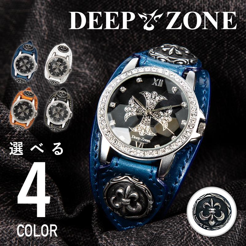 腕時計 ウォッチ レザー ジルコニア クロス おしゃれ DEEP ZONE 直営ストア メンズ 誕生日プレゼントにも 品質検査済 ブルー 本革 百合コンチョ イタリアンレザー ギフト ブレスウォッチ