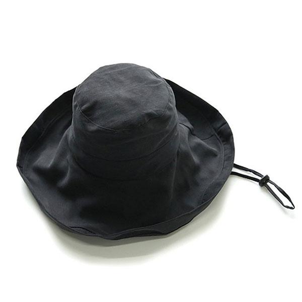 大人のおしゃれ日よけ帽子 ハット UVカット レディース 帽子 春 ブラック サファリハット 折りたたみ 中古 夏 つば広 日本メーカー新品 日よけ