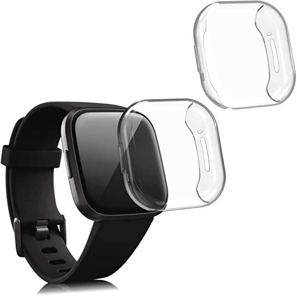 タイプ:透明 Fitbit Versa 3 Sense 用 2x メーカー直送 当店一番人気 プロテクター ボディ 透明 ケース シリコン製 送料無料 カバー セット TPU