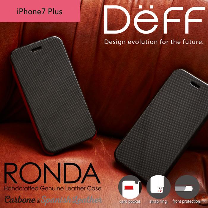 Gooda掲載商品 iPhone8 Plus / 7 Plus / 6s Plus / 6 Plus カーボンフリップ & 本革 レザーケース フリップ 手帳型 RONDA Carbon & Spanish Leather【送料無料】