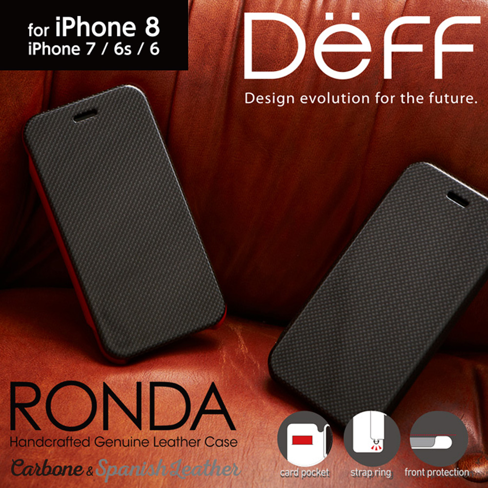 Gooda掲載商品 iPhone8 / 7 / 6s /6 カーボンフリップ & 本革 レザーケース フリップタイプ 手帳型 RONDA Carbon & Spanish Leather Case【送料無料】