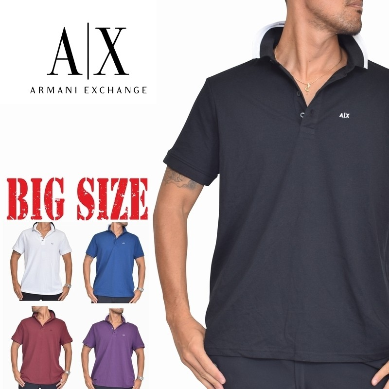 USA直輸入 送料無料 アルマーニエクスチェンジ 新着 半袖ポロシャツ 鹿の子 黒 白 青 半額 A XL 大きいサイズ X XXL あす楽 ARMANI メンズ EXCHANGE