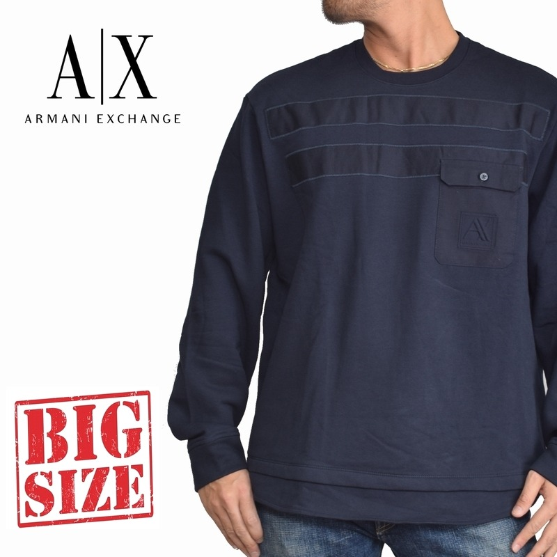 アルマーニエクスチェンジ A/X トレーナー スウェットシャツ クルーネック ポケット付き 裏起毛 ネイビー ARMANI EXCHANGE XL XXL 大きいサイズ メンズ あす楽