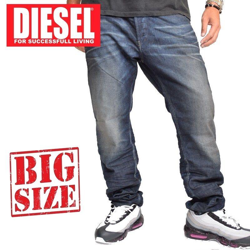 大きいサイズ メンズ ディーゼル Diesel デニムパンツ ジーンズ レギュラー スリム テーパード BELTHER WASH 0827K STRETCH 38インチ