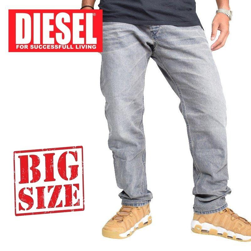 大きいサイズ メンズ ディーゼル Diesel デニムパンツ ジーンズ レギュラー スリム テーパード BELTHER 0677N STRETCH 38 40インチ