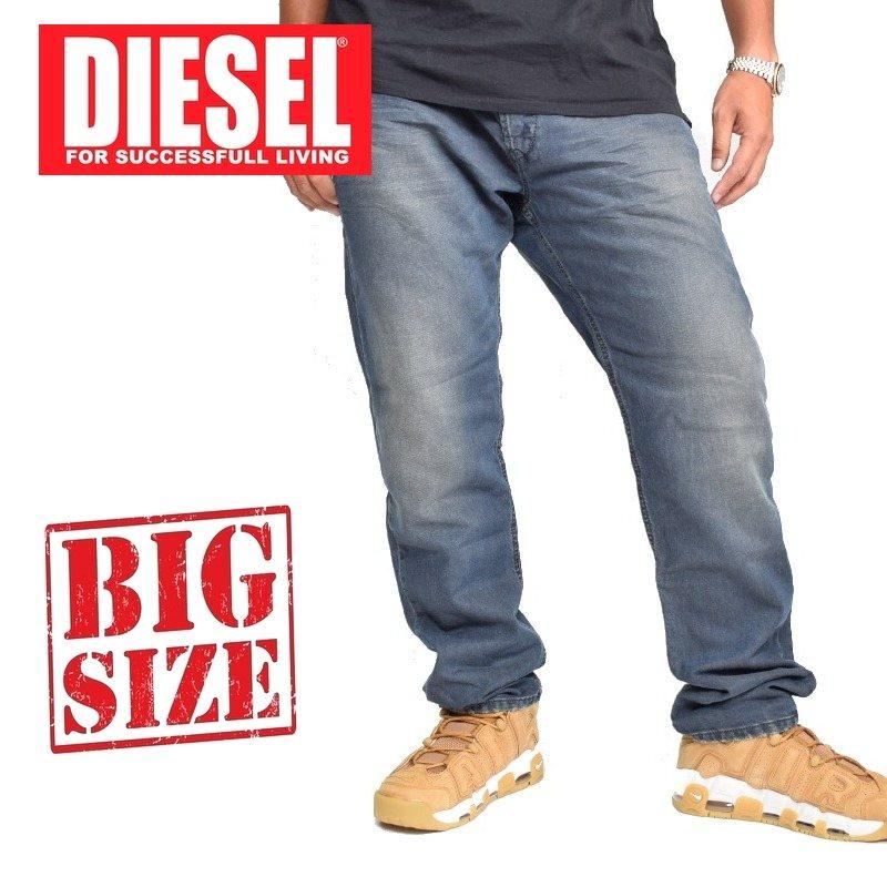 大きいサイズ メンズ ディーゼル Diesel デニムパンツ ジーンズ レギュラー スリム テーパードWASH 0668G STRETCH 38 40インチ
