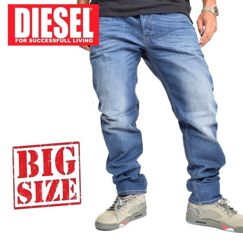 大きいサイズ メンズ ディーゼル Diesel デニムパンツ ジーンズ レギュラー スリム テーパード WASH RX380 STRETCH 38 40インチ