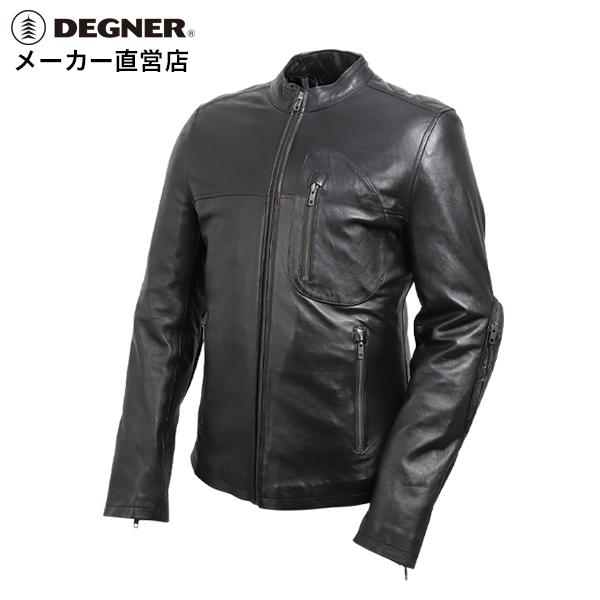 デグナー メンズレザージャケット 本革 シングル ライダース ブラック[19SJ-1]