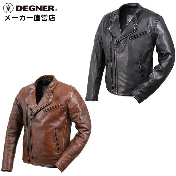 デグナー メンズカウレザーダブルジャケット S/M/L/XL/2XL/3XL ブラック/ブラウン 牛革 19WJ-14