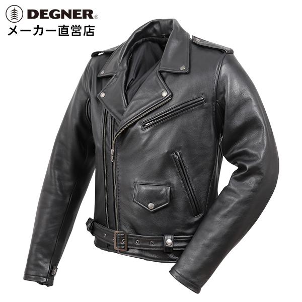 デグナー メンズカウレザーダブルジャケット S/M/L/XL/2XL/3XL ブラック 牛革 19WJ-15