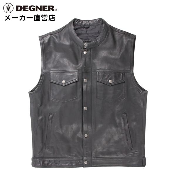 デグナー DEGNER レザーベスト V-16 ブラック バイク 本革 ベスト シンプル