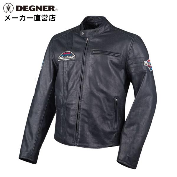 デグナー DEGNER デグナーメッシュレザージャケット 18SJ-7 メンズ パンチングレザー 本革 ブラック