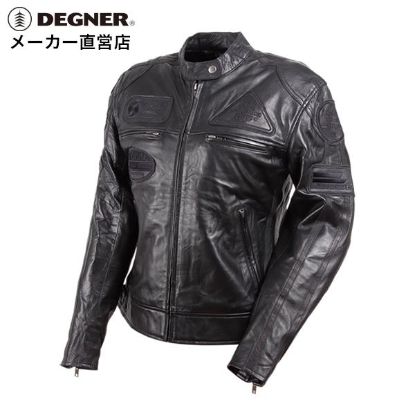 バイク ジャケット レディース ライダース 本革 レザー 羊革 プロテクター 肩 ヒジ 背中 パッド ワッペン ヴィンテージ DEGNER デグナー 送料無料 サイズ交換 DG13WJ-1C ブラック デグナー
