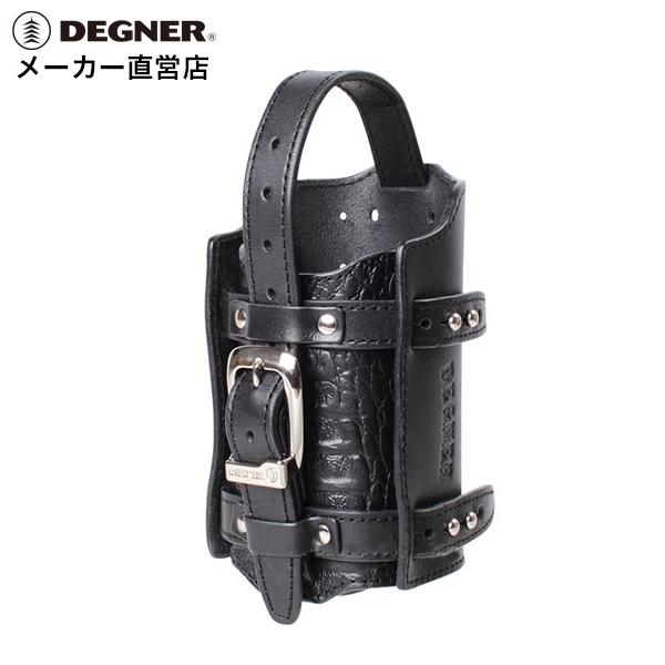送料無料 ハーレー バイク レザー 本革 牛革 クロコエンボス 携行缶 ホルダー ガソリン DEGNER デグナー DH-5 ブラック クロコブラック