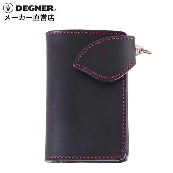 デグナー DEGNER レザーウォレット W-95 ブラック レッド 本革 ミドルウォレット シンプル