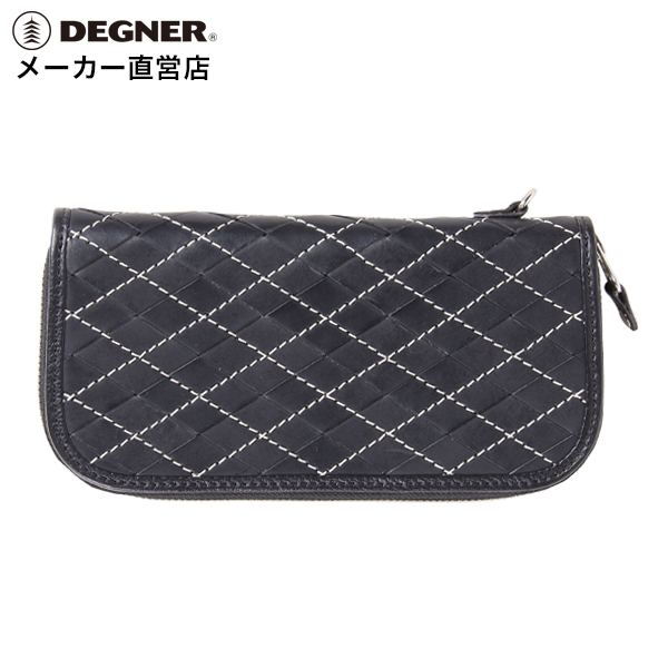 デグナー DEGNER アーガイル調 レザー ロングジップウォレット W-99 ブラック/ブラック 本革 財布 長財布