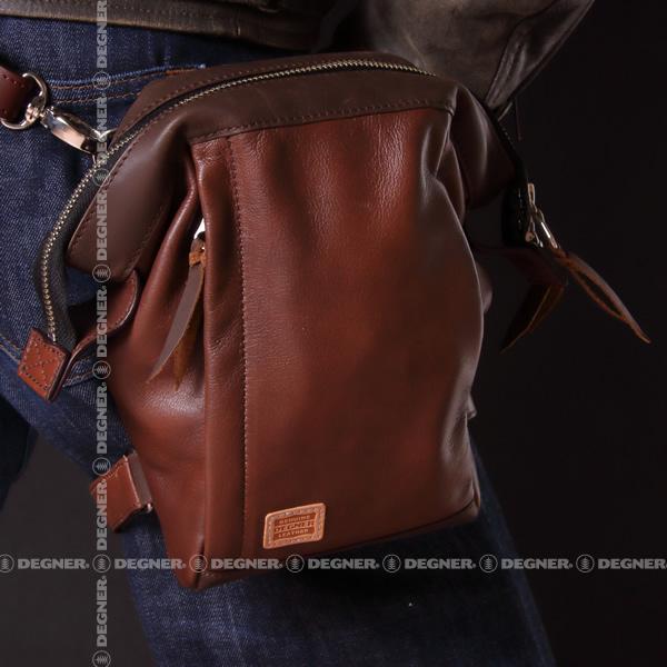 レザー ホルスター バッグ がま口 レッグベルト フロントポケット ウエストベルト 本革 W-101 ブラウン