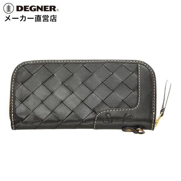 デグナー DEGNER レザーウォレット SFW-9 ブラック バスケット 財布 長財布 ジップ