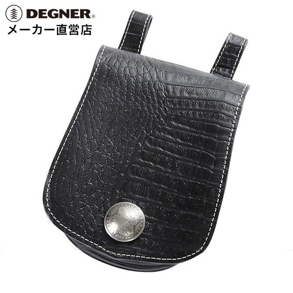 デグナー DEGNER レザー メディスンバッグ W-22CR クロコブラック 本革 小物入れ