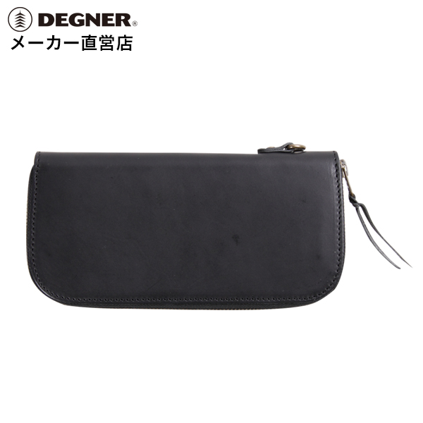 デグナー DEGNER レザーロングウォレット W-92 ブラック 本革 財布 長財布 ジップ