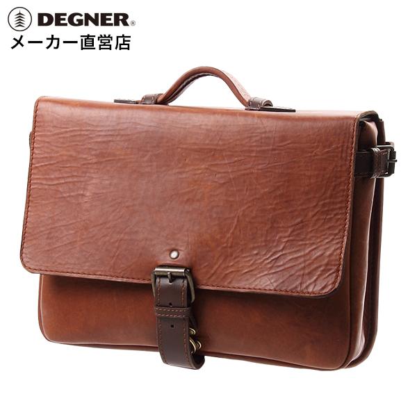 デグナー DEGNER バイク レザー サイドバッグ SB-58-DB ブラウン 本革 ビジネスバッグ コンパクト