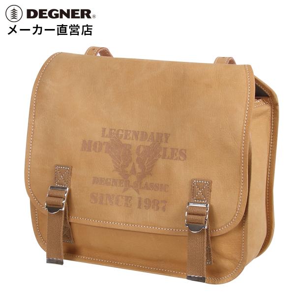 デグナー DEGNER バイク レザー サイドバッグ SB-78 ベージュ 牛革 ミリタリー エッチング