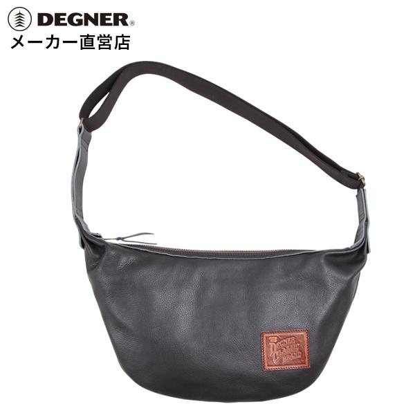 デグナー DEGNER レザー ショルダーバッグ バナナバッグ W-105 ブラック 本革