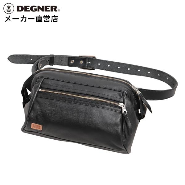 デグナー DEGNER レザー ワンショルダーボディバッグ W-102 ブラック 本革