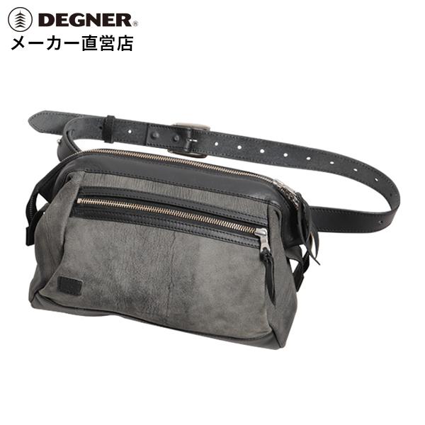 本革 山羊革 レザー ワンショルダー ボディ バッグ グレー W-102 GY 送料無料 デグナー DEGNER