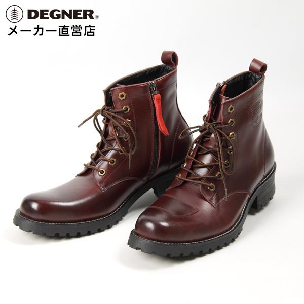 デグナー DEGNER シフトガード付レザーブーツ ライトワイン 牛革 ZIPPER ジップ