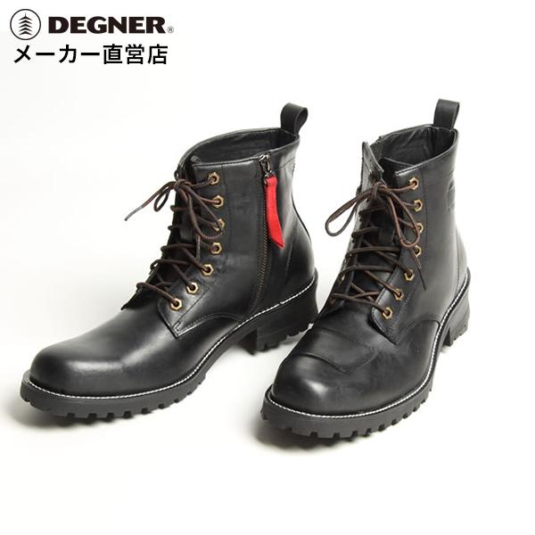 デグナー DEGNER シフトガード付レザーブーツ ブラック 牛革 ZIPPER ジップ